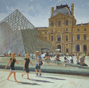 Tom's Louvre, 100x100cm, oil on canvas, Brooksby © 2014 sold