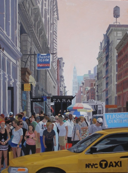 View down Broadway, private collection, James and Elizabeth Watson, NY