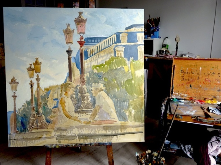 Painting of Paris by Brooksby