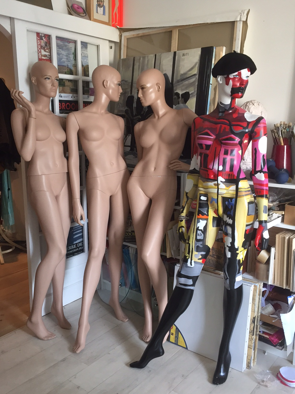 Painted and naked mannequins in my atelier