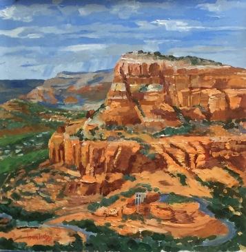 Sedona Valley, 36x36cm, oil on canvas, ©2017 Angie Brooksby-Arcangioli