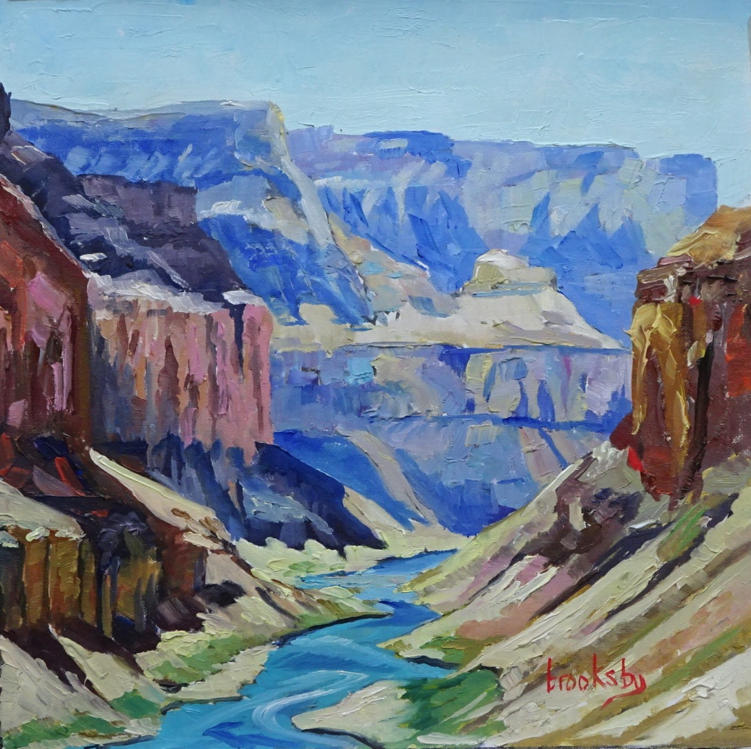 Grand Canyon Blue, 25x25cm, oil on canvas, ©2017 Angie Brooksby-Arcangioli