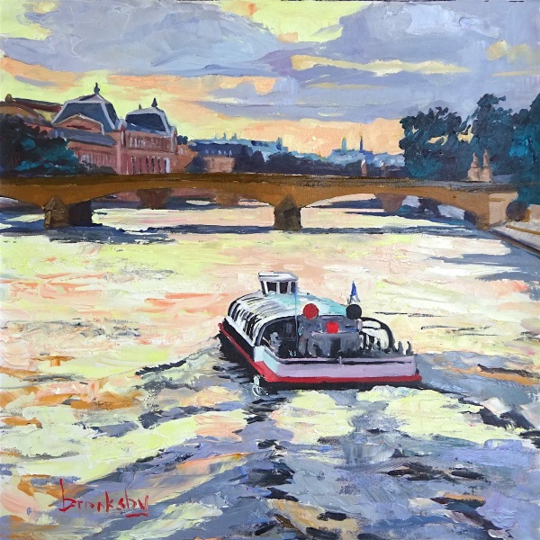 Sunset on the Seine 36x36cm, oil on canvas private collection, USA