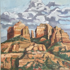 GCathedral Rock, 80x80 cm, oil on canvas, ©2017 Angie Brooksby-Arcangioli