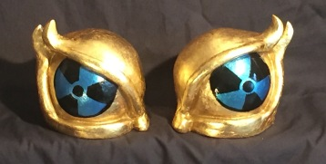 Polychrome manga eye sculpture by Angie Brooksby