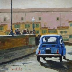 Fiat 500 a Firenze 36x36cm