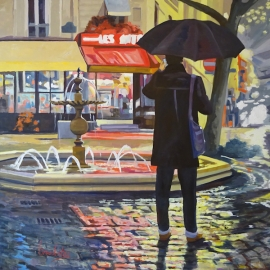 oil on canvas of Paris by Angie Brooksby
