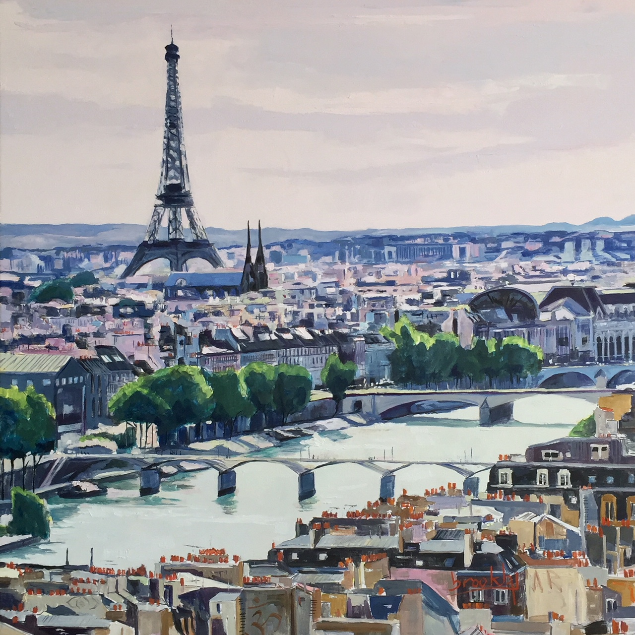 Vue de la Torre Saint Jacques, 50x50cm oil on canvas
