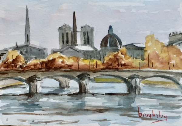 372017 La Seine - ink, watercolor