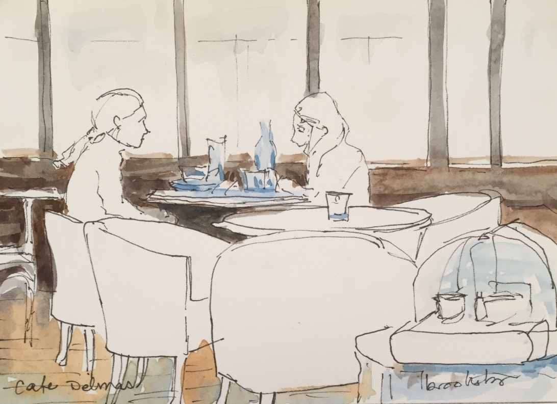 original illustration of parisian cafe
