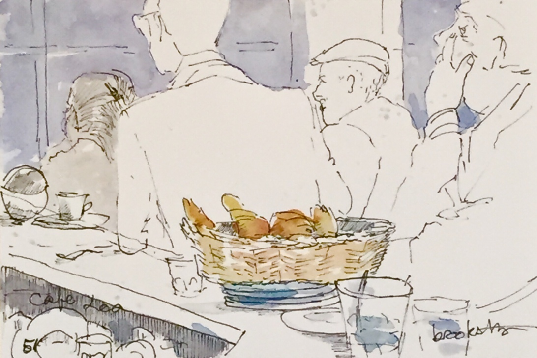 contemporary illustration of Parisian cafe