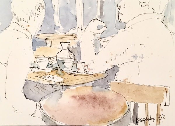 n 58 café Canon de Gobelins - postcard sized illustration on archival paper