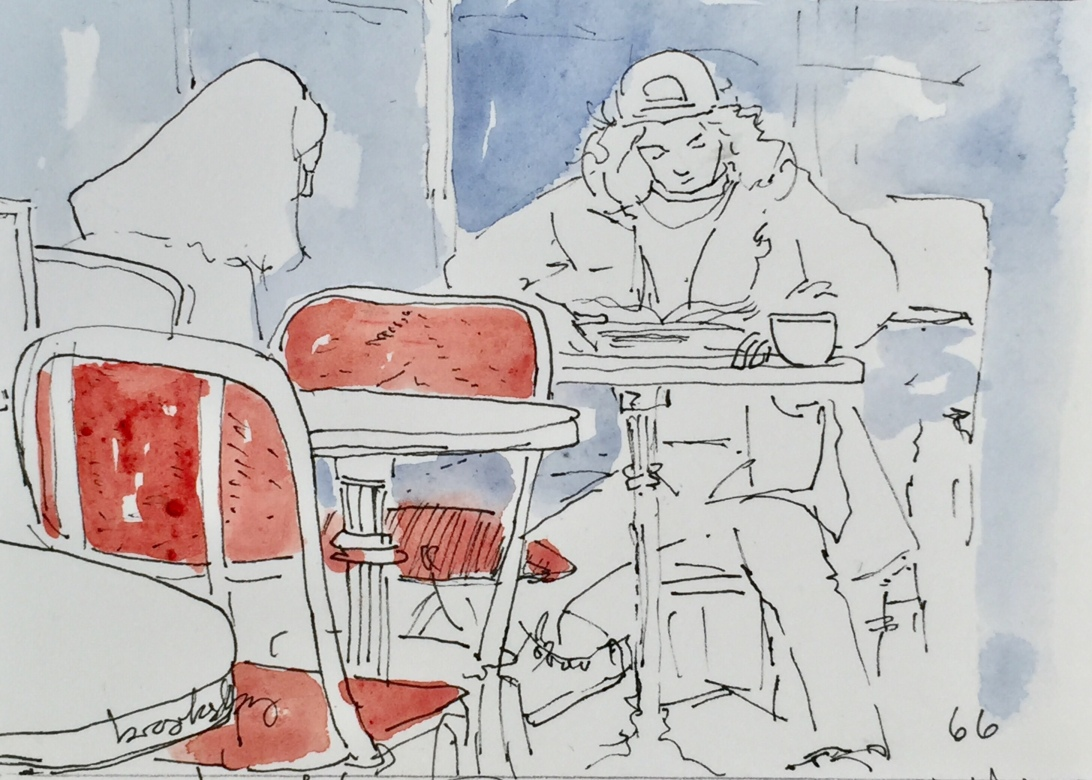 watercolor of a parisian cafe