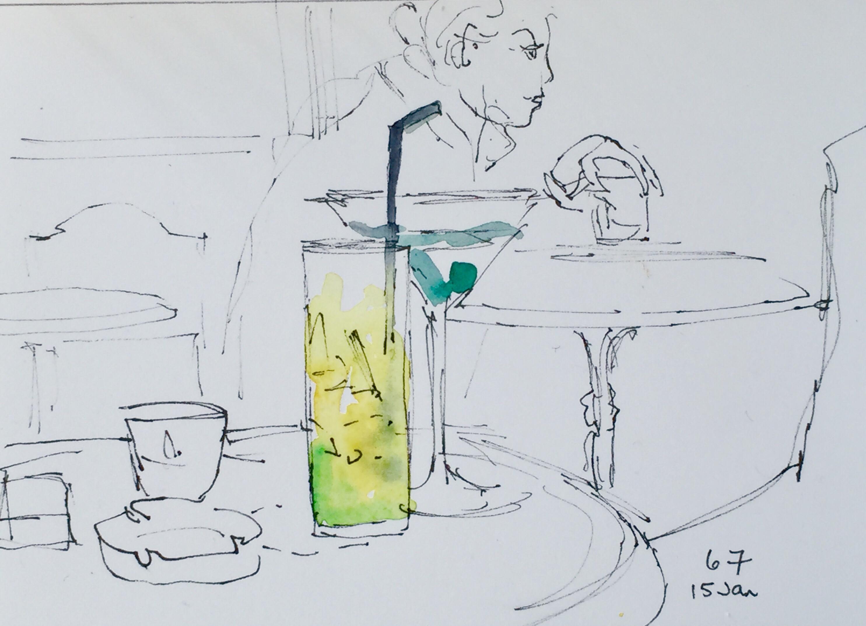watercolor of a parisian cafe