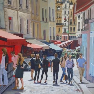 Au Marché de rue Mouffetard - 100x100cm, huile sur toile