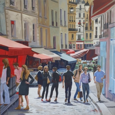 Au Marché de rue Mouffetard - 100x100cm, huile sur toile contact gallery Arts Range - Honfleur