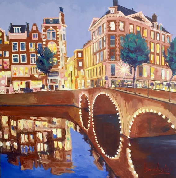 The Blue Hour in Amsterdam, 80x80 oil on canvas DIRECT or available on SINGULART