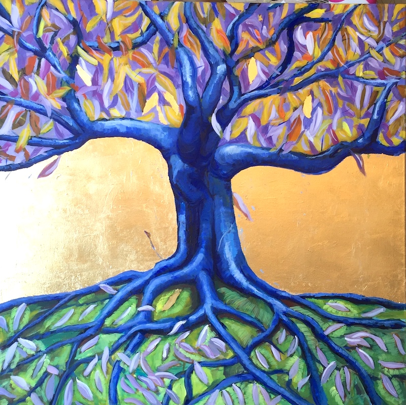 Oil on canvas with gold leaf tree of life