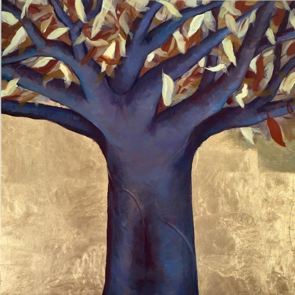 Oil on canvas gold leaftree of life