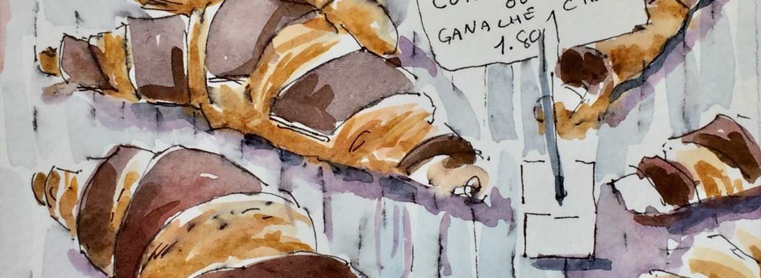 a pen and ink and watercolor of parisian croissants