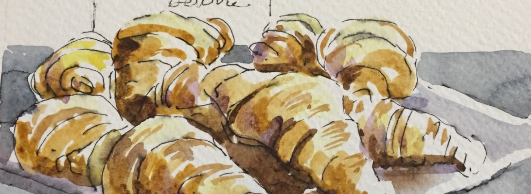 croissant au beurre, an original illustration from Paris