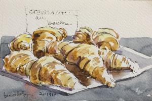 croissant au beurre, an original illustration from Paris