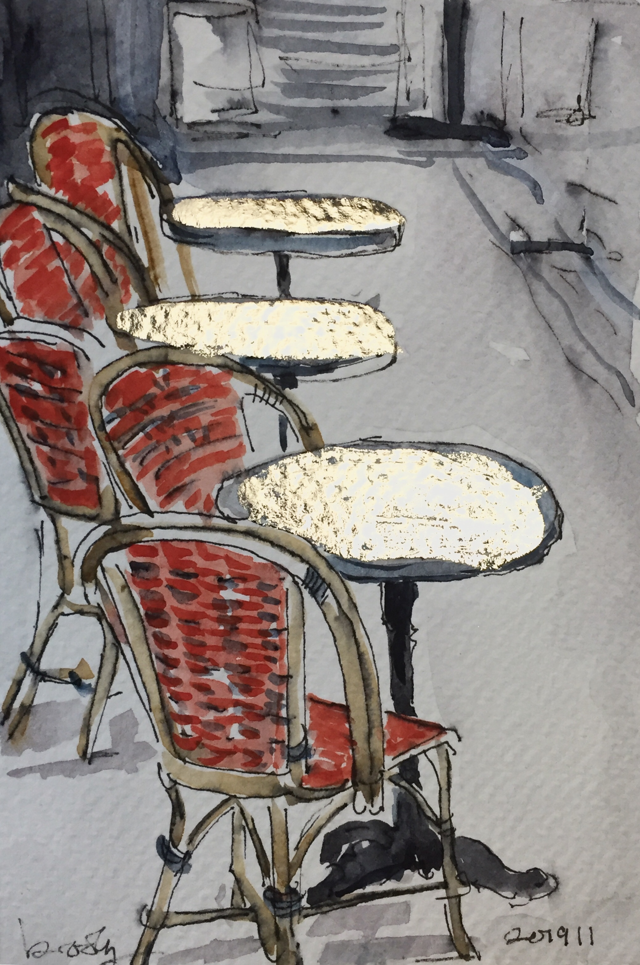 illustration of cane chairs in Paris