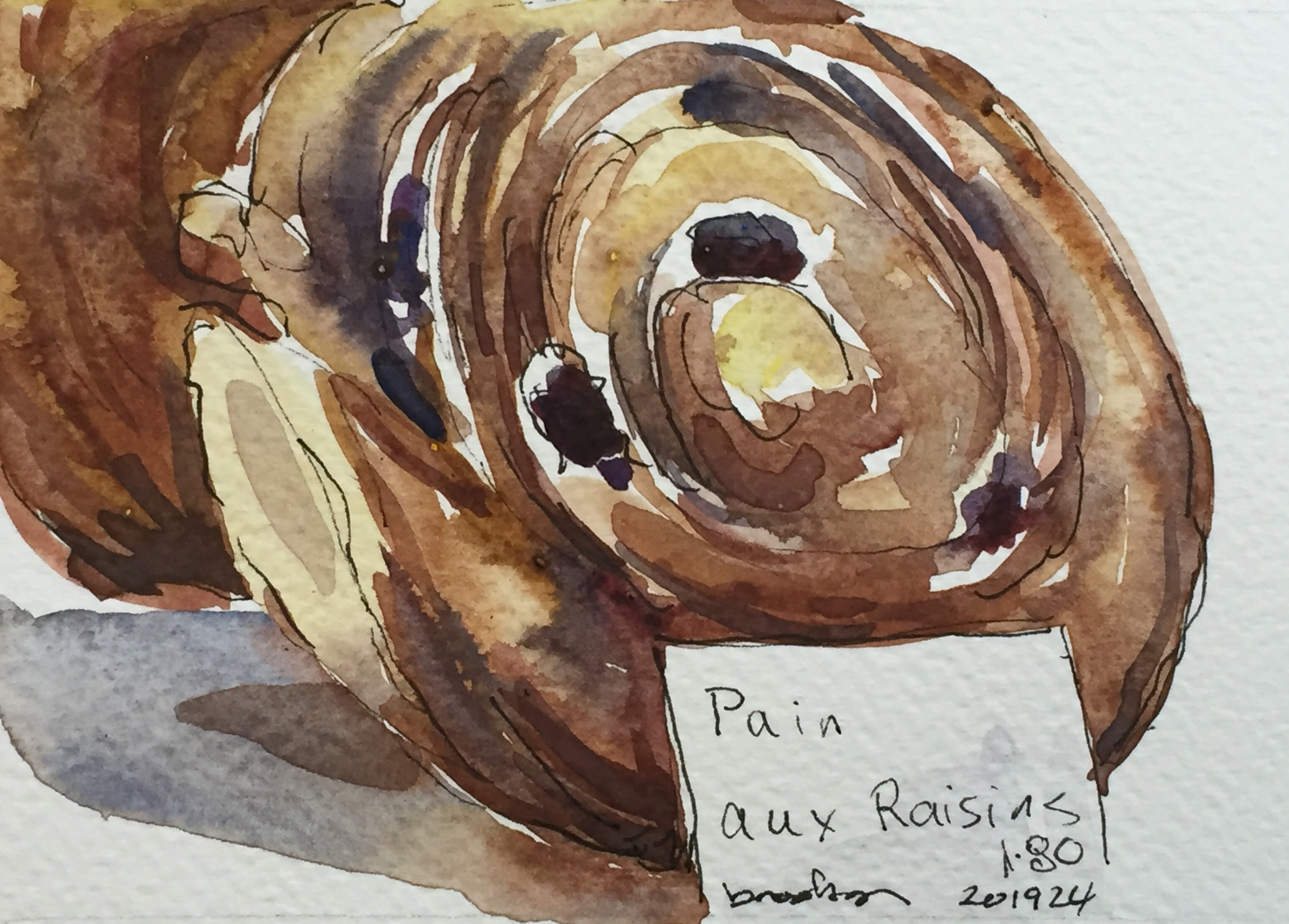 n 201924 - Pain aux Raisin- postcard-sized illustration - ink and watercolor