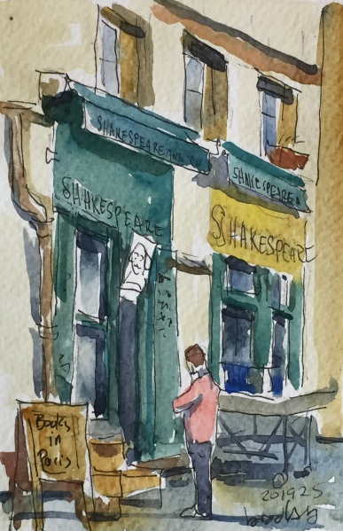 n 201925 Shakespeare and CO. postcard-sized illustration - ink and watercolor