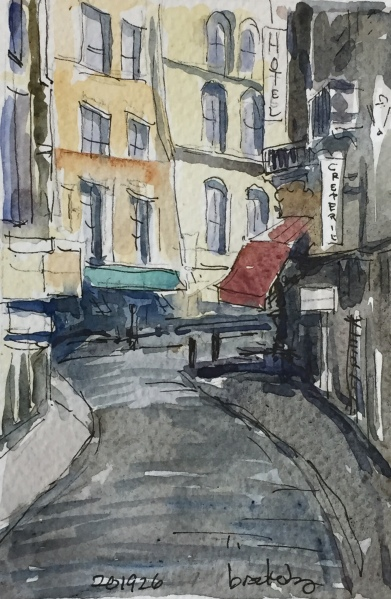 n 201926 - Rue de l'Harpe- postcard-sized illustration - ink and watercolor
