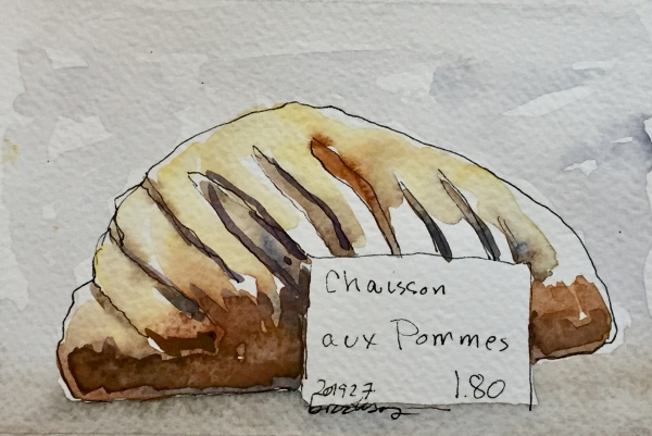 n 201927 - Chausson aux Pommes - postcard-sized illustration - ink and watercolor