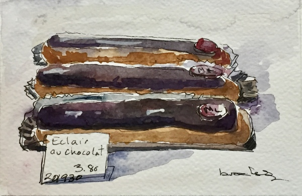 n 201930 - TROIS ÉCLAIRS AU CHOCOLAT - postcard-sized illustration - ink and watercolor