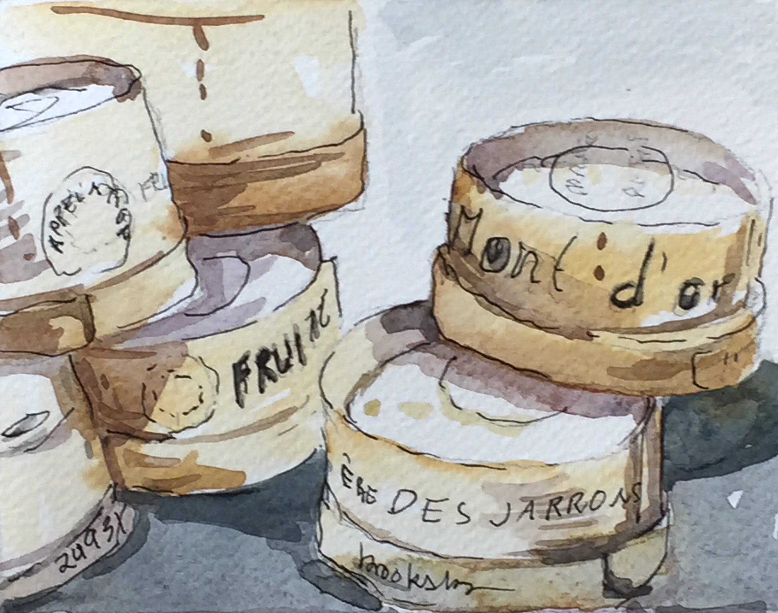ink and watercolor illustration of french cheese by Angie Brooksby
