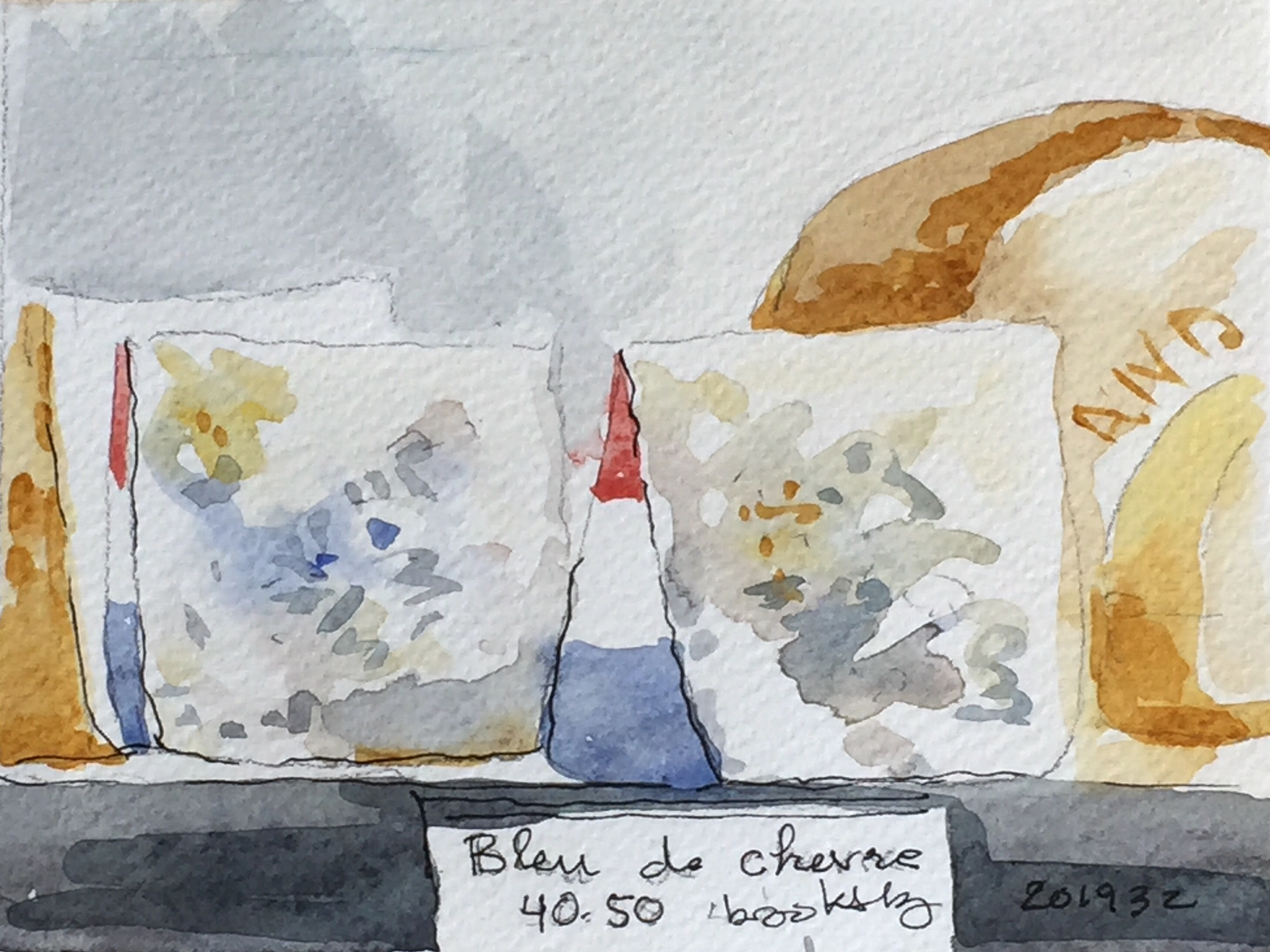 201932 Bleue de chèvre: French Cheese - postcard-sized illustration - ink and watercolor on archival paper
