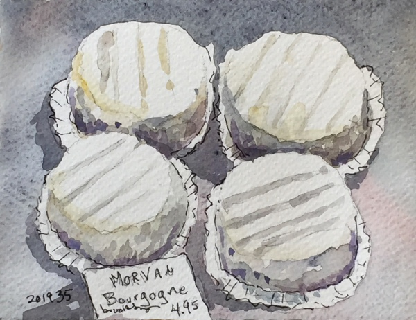 201935 MORVAL de Bourgogne: French Cheese From ANDROUET - postcard-sized illustration - ink and watercolor on archival paper