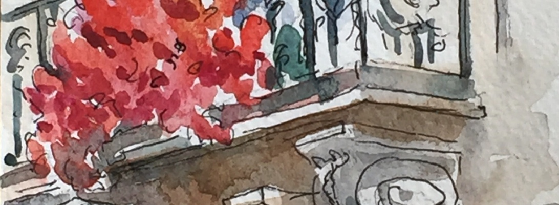 201933 Balcon Parisien Fleuri - postcard-sized illustration - ink and watercolor on archival paper
