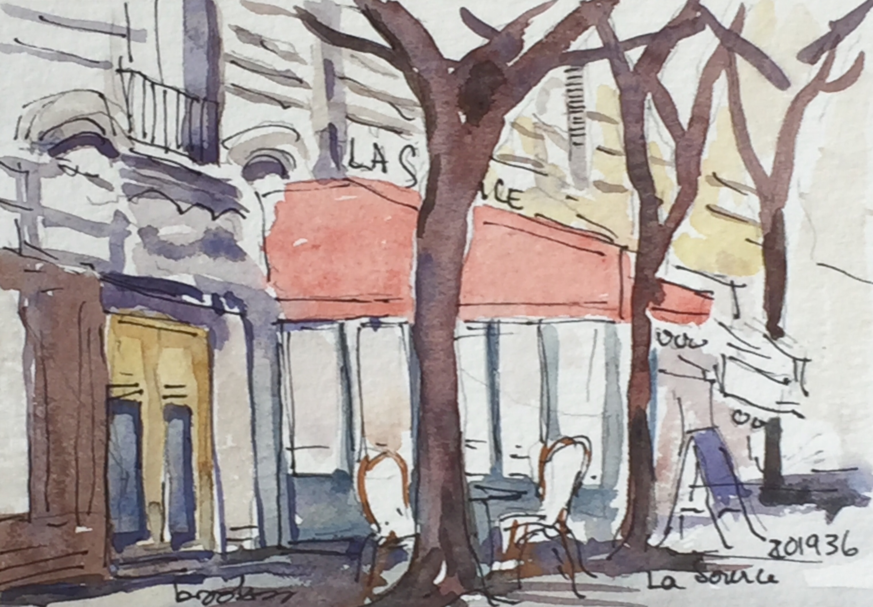 postcard from Paris : a postcard-sized illustration - ink and watercolor on archival paper