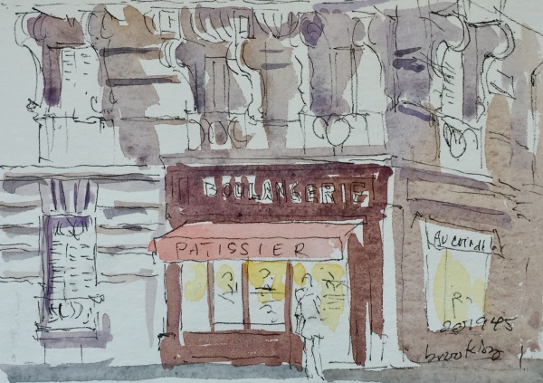 n 201945 Boulangerie dans le 17e - postcard-sized illustration - ink and watercolor on archival paper