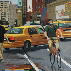 NYC Cyclist - 50x50 oil on canvas - available DIRECT or SINGULART 750€