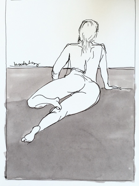 a pen and ink line drawing of a nude