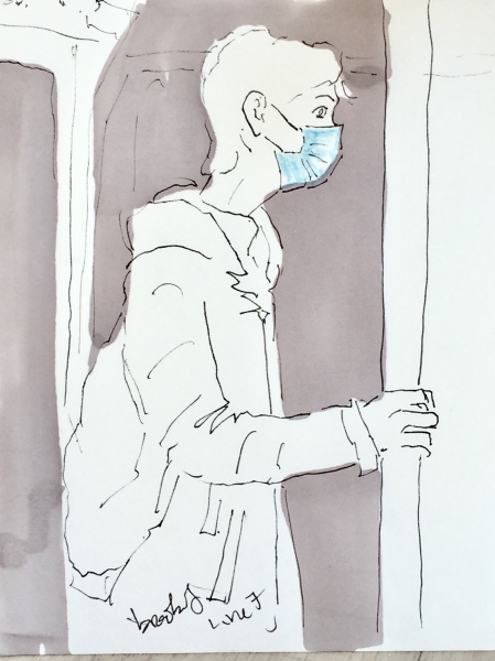 pen and ink illustration of a Parisian on the metro