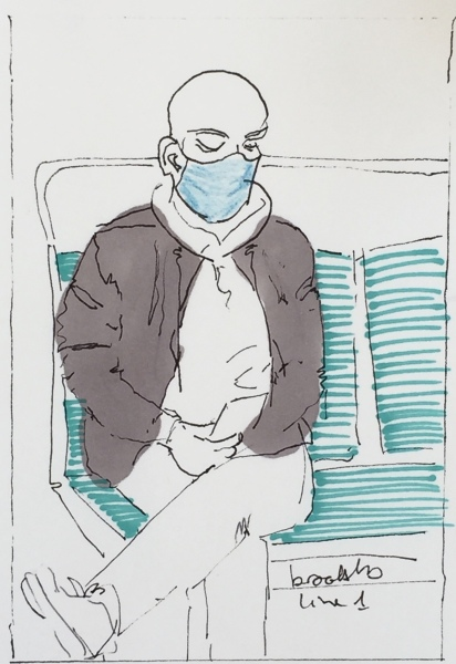 n 27 an illustration of a Parisian on the metro