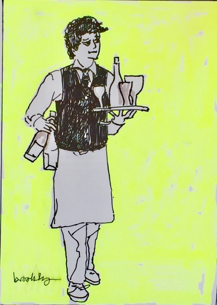al illustration of a Parisian waiter