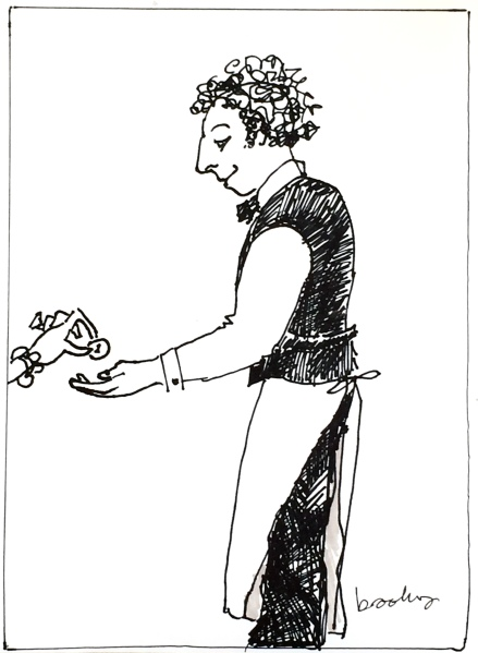 a pen and ink drawing of a Parisian Waiter