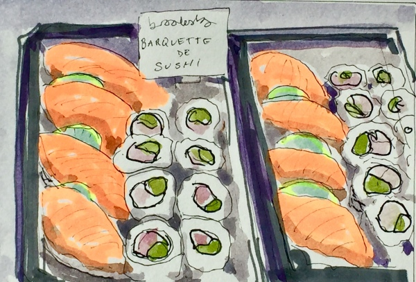 4120 Sushi, a postcard sized illustration, mixed media on bristol
