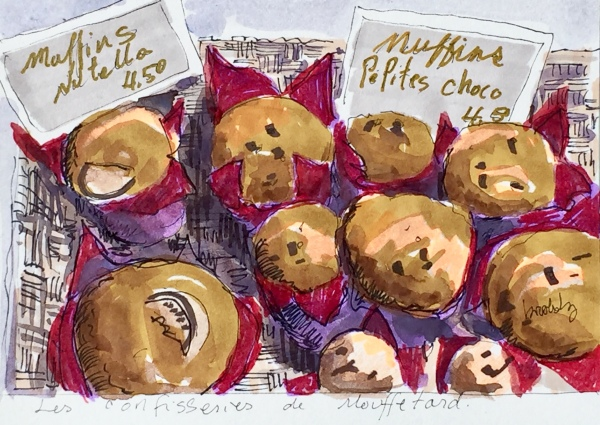 4420 Muffins, a postcard sized illustration, mixed media on bristol
