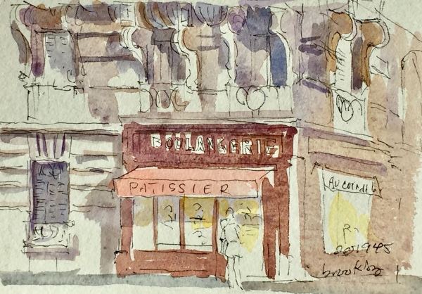 201945 Boulangerie dans le 17eme, a postcard sized illustration, mixed media on bristol