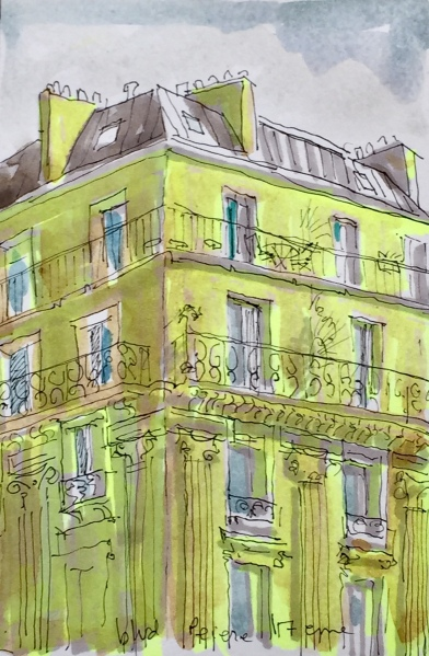 4220 Haussmanian Corner, a postcard sized illustration, mixed media on bristol