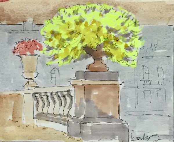 4320 The Vases in Jardin de Luxembourg, a postcard sized illustration, mixed media on bristol