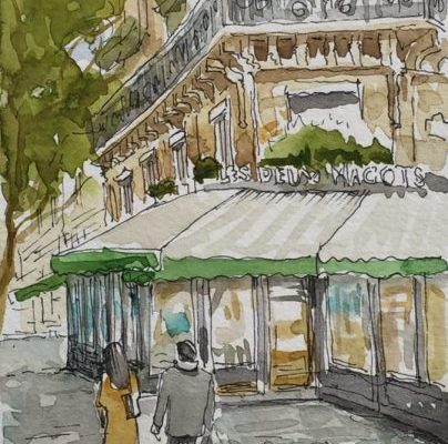 a pen and ink illustration of cafe Les Deux Magots in Paris
